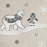 Stoff Meterware Baumwolle natur Eisbär Pinguin winterlich