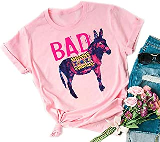 Bad Ass Donkey Short Sleeve Cut T Shirt Women's Letter Graphic Casual Tees Summer Funny Tops