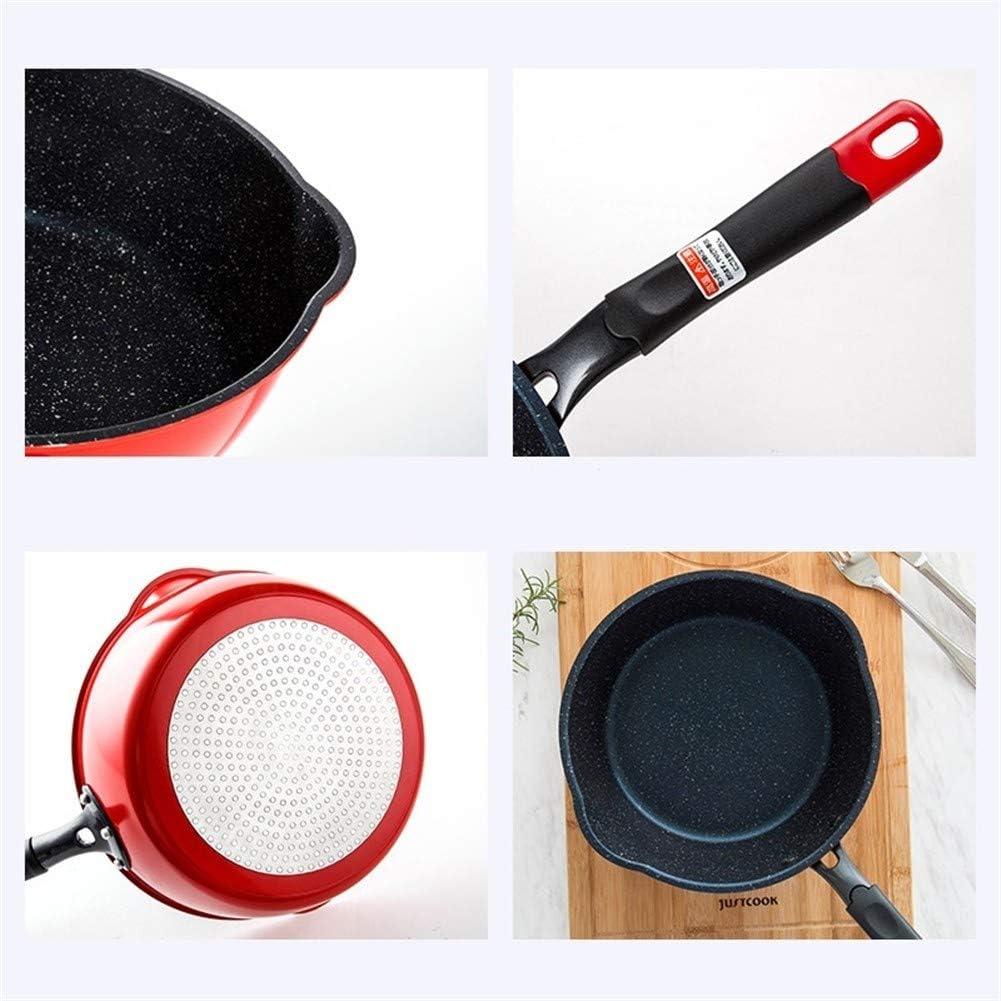 Facile Antiadhésive Poêle Wok style Frying Pan Steak Egg Pan Pierre Marmite Utilisation générale for gaz et cuisinière à induction Distribution (Color : 24cmRed) 24cmblack