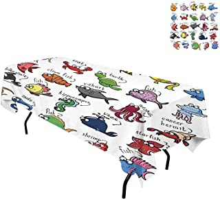 kangkaishi Nautical Decor for Kids,Table Cover Spillproof Tablecloth,Aquarium Cartoon Octopus Dolphin Shark Whale Clown Fish Jellyfish Crab Marine,for Kitchen Dining Party,W60 x L102 Inch