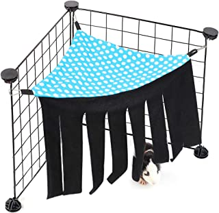 SLSON Corner Hideout for Guinea Pigs, Funny Habitat Tent Toy and Hammock with 3 Hooks Cage Accessories for Small Animals Hamster Ferret Glider Rats Mice Chinchinlla, Blue