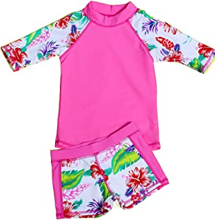 940cb80e31 Baby Toddler Girls Two Pieces Swimsuit Set Swimwear Bathing Suit Rash  Guards UPF 50+ FBA