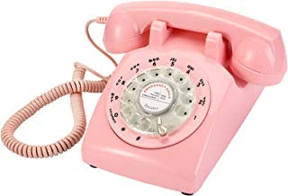 $44 » Yopay Pink Retro Old Fashioned Rotary Dial Telephone, Vintage Mechanical Ringer Phone Landline Desk Phone for Home, Office...