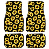 HUGS IDEA 4 Pcs/Set Car Interior Front Rear Mats Novelty Sunflower Pattern Universal Fit Automotive Anti-Slip Car Floor Doormat