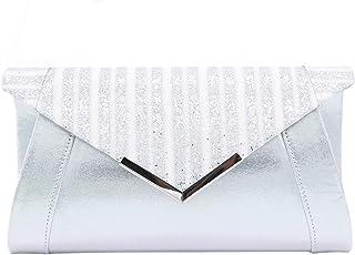 4018df88e4c1f Pochette Enveloppe Contrastante Sac de Soirée en Paillettes Brillant  Argenté Blanc pour Femme