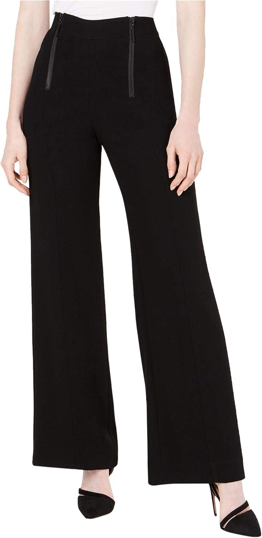 Nanette Lepore Womens Zippered Waist Casual Wide Leg Pants, Black, 8