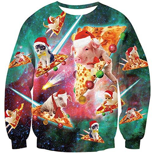 Loveternal Lustige Weihnachtspullover Christmas Hemd Unisex Ugly Cat Sweater 3D Druck Weihnachtspullover Langarm Xmas Pizza Katze Pullover Jumper M