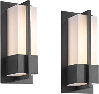 Bestshared Exterior LED Wall Light, Indoor Wall Mount Lighting, Outdoor Wall Lamp Fixture, 12W LED 900 Lumens, 3000K Warm White, Black Finish (Black, 2 Pack)