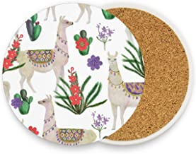 Llamas And Cacti Round Coaster Set Table Coasters