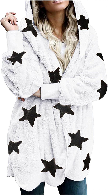 Womens Double-Sided Flannel Jacket Coat Hood Stars Pockets Winter Warm Wool Fleece Outwear Oversized Trench Overcoat
