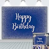 DANIU Royal Blue Happy Birthday Backdrop Adults Mans Boys Bday Party Banner Silver Glitter Spots Photography Background Table Wall Decorations Photo Shoot Booth Studio Props