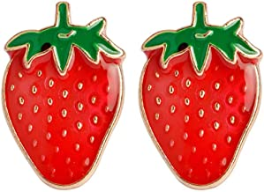 Charmart Strawberry Lapel Pin 2 Piece Set Summer Fruit Enamel Brooch Pins Badges Clothes Accessories Gifts