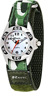 Ravel Boys Green Army Camouflage Fabric Velcro Strap Watch R1507.05