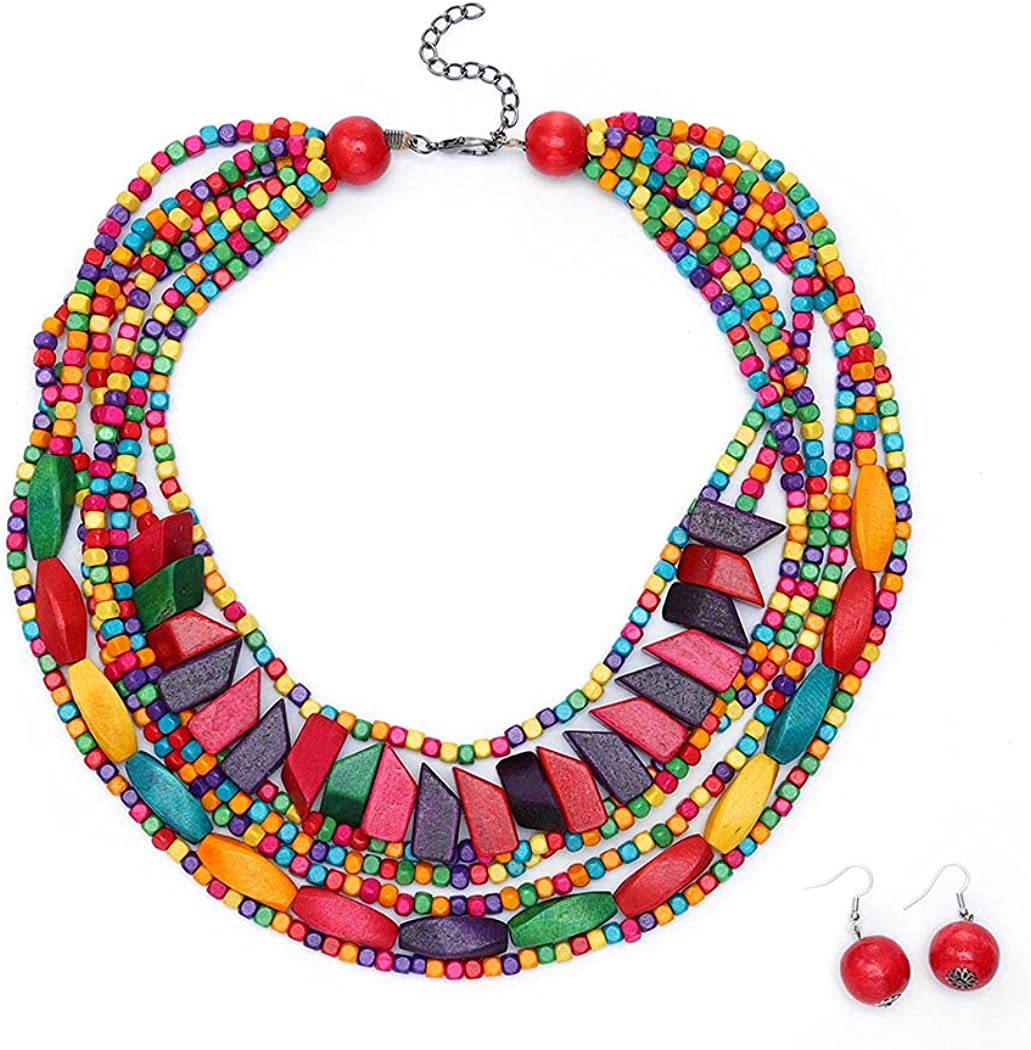deladola Vintage Layered Necklace Earrings Set Multicolor Wooden Beaded Ethnic Bib Necklace African Statement Collar Choker Boho Multi Strand Necklace Jewelry Accessories for Women and Girls