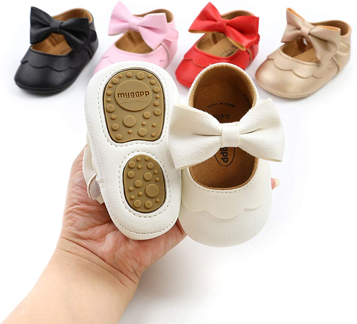 COSANKIM Baby Walkers for Girls Soft Sole Non Slip Baby Girl Mary Jane Dress Shoes