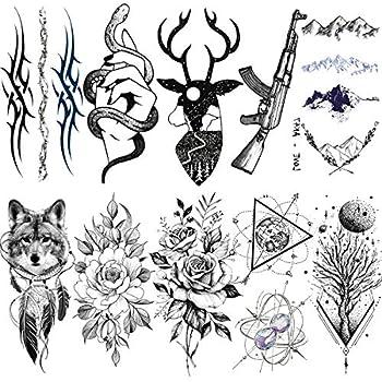 VANTATY 10 Sheets Black Fox Deer Temporary Tattoo illustration Planets Mountain Flower Ninimalist Fake Snake Hands Men Chains Fake Jewels AK Gun Tattoo Stickers Women Armband Tatoos Totem