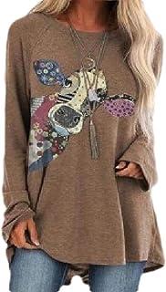 Loyomobak Women Tops Raglan Sleeve Print O Neck Blouse T Shirts