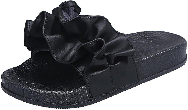 Peep Toe Flat Slides for Women's Leisure Pleated Ruffle Platform Fashion Comfort Slip-on Soft Sole Slide Sandals