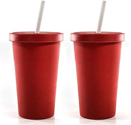 Preisvergleich für 2er Set bamboo fibre Trinkbecher mit Strohhalm aus biologisch abbaubaren Bambus Fasern, umweltfreundliche Alternative zu Plastik. Spülmaschinengeeignet, Geschmacksneutral, Lebensmittelecht