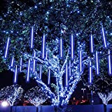 MAOYUE Meteor Shower Lights, 16 Tubes 640 LED Icicle Lights Outdoor Christmas Decorations, Waterproof Cascading Lights for Wedding Christmas Tree Decoration ,Blue