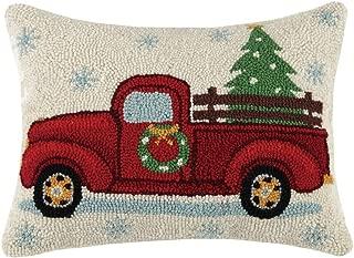 Peking Handicraft Holiday Highway Christmas Tree On Truck Wool-Blend Decorative Pillow, 14