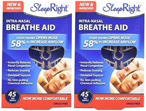 SleepRight Intra-Nasal Breathe Aids Breathing Aids for Sleep Nasal Dilator 45 Day - 2 Pack