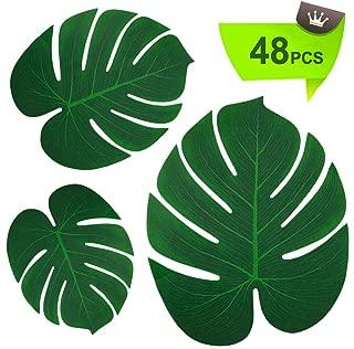 TIQS Artificial Tropical Palm Safari Leaves for Party Decoration Supplies - 48 Mixed PCS: Small+ Medium + Large - Tropic Jungle & Hawaiian Decor Art- Placemats Green Fake Long Leave - Free E-Book