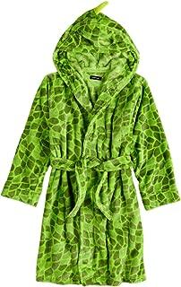 Boys Plush Green Dinosaur Hooded Bathhrobe Bath Robe Housecoat Large (12-14)
