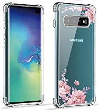 Hocase Galaxy S10 Plus Case, SM-G975 Case, Shock Absorption TPU Rubber Bumper Corners+Anti-Scratch Clear Hard Back Hybrid Slim Protective Case for Samsung Galaxy S10 Plus 2019 - Rose Gold Flowers