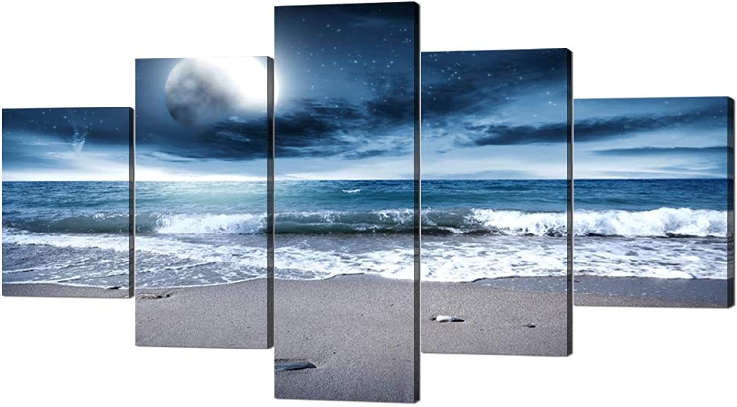 Yatsen Bridge 5 Panels Modern Ocean Artwork Wall Decor Full Moon Night Ocean Prints and Posters Stretched by Wooden Frame Ocean Picture for Living Room Bedroom Decor - 60''W x 32''H