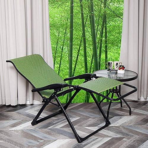 MWPO Zero Gravity Chairs Heavy Duty Zero Gravity Chair, Green Folding Reclining Chairs, Rattan Recliner Sun Lounger for Garden Lawn Outdoor, Support 330lbs (Color:Green)