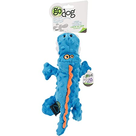 goDog Gators With Chew Guard Technology Tough Plush Dog Toy, Blue, Small (774018)
