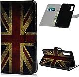F�r Samsung Galaxy A50 H�lle Lader Tasche PU Lader H�lle Gemalt Muster Flip Brieftasche Kartenhalter Magnetschnalle St�nder Sto�fest Kratzfest Sto�stange Handyh�lle Britische Flagge