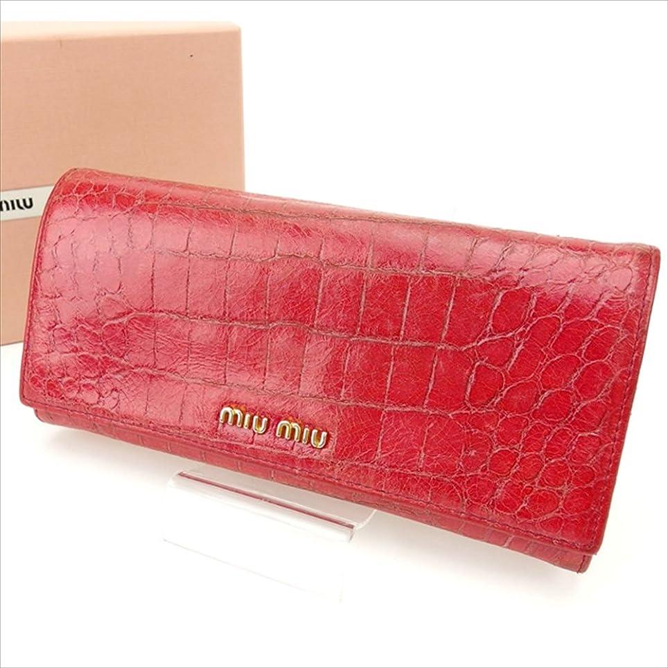 打ち負かす厚さナット(ミュウミュウ) Miu Miu 長財布 ピンク クロコダイル型押し レディース 中古 D1021
