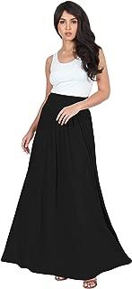 KOH KOH Womens Long Flowy Cute Modest High Waist Floor Length Pockets Maxi Skirt