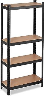 Relaxdays Rek voor zware lasten, draagvermogen 700 kg, 150x70x30 cm, 4 planken, om in te steken, staal, opbergrek kelder, ...