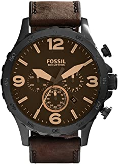Fossil Men's Nate Quartz Stainless Steel and Leather Casual Watch