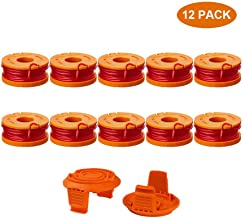 """Thten Edger Spools Replacement for Worx WG180 WG163 WA0010 Weed Wacker Eater String with WA6531 GT Spool Cover 50006531 String Trimmer Refills 10ft 0.065""""(10 Spool, 2 Cap)"""
