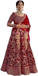 Nir Fashion Women's Taffeta Silk Semi-Stitched lehenga Choli with Net Dupatta (Red, Free Size)