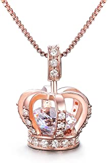 Womens Queen Crown Pendant Necklace 3 Lays Rose Gold/Platinum Plated with Cubic Zirconia