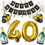 BELLE VOUS Set Decoraciones Fiesta de Cumpleaños Globos 40 y Pancarta Happy Birthday Botellas de Champán Inflables, 40 Dorado de 101,6cm y Globos - Kit Decoraciones de Pared - Party Supplies