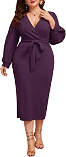 Women's Plus Size Bishop Sleeve Plunging V Neck Belted Bodycon Dress