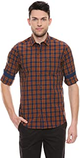 Color Plus Mens Slim Collar Check Casual Shirt