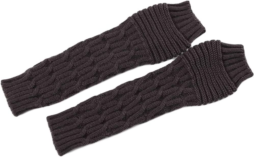 KYSA Winter Warmer - Knitted Long Fingerless Gloves - Crochet Rhombus Arm Warmers - Thumbhole Half Finger Mittens - Winter Gift