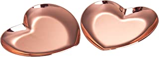 IMEEA Small Trinket Tray Ring Dish Jewelry Organizer Tray Vanity Tray Heart-Shaped Stainless Steel (Rose Gold)