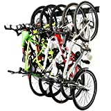 "LARGE CAPACITY:Garage wall mount bike rack garage could accommodate 6 bicycles and hold up to 300 lbs CUSTOMIZE BIKE STORAGE: Space attachments to 48"" long steel rail to customize spacing to fit your needs SAFETY:The sturdy safety hook design could e..."