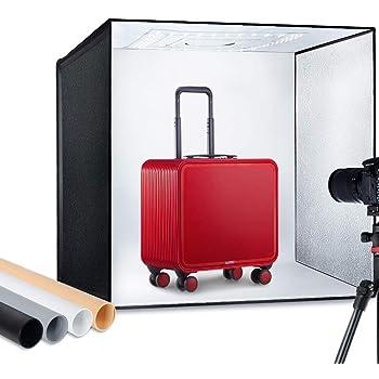 "ESDDI Photo Studio Light Box 24""/60cm Adjustable Brightness Portable Folding Hook & Loop Professional Booth Table Top Photography Lighting Kit 120 LED Lights 4 Colors Backdrops"