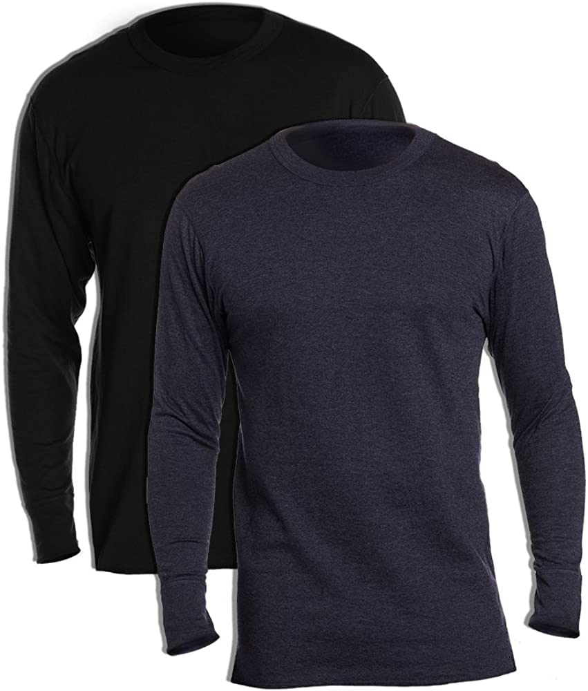 Duofold KMW1 60% Cotton 40% Polyester Men's Mid Weight Wicking Crew Neck Top 1 Black + 1 Navy