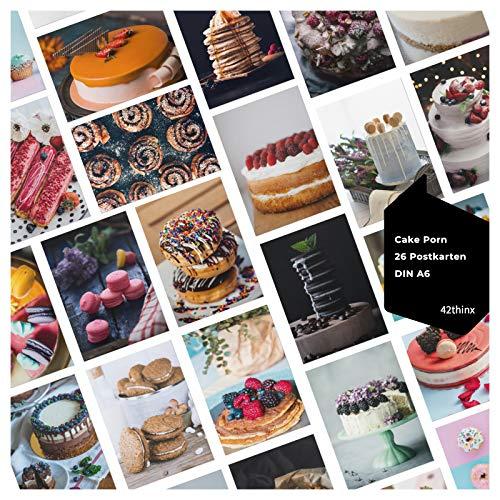 42thinx - Ansichtskarten Set Cake Porn I 26er Set Postkarten Kuchen Chromokarton 300g Papier A6 I Postkartenset Bilder Naschereien I Cupcake Motiv Muffin himmlische Desserts I Postcrossing Postkarten