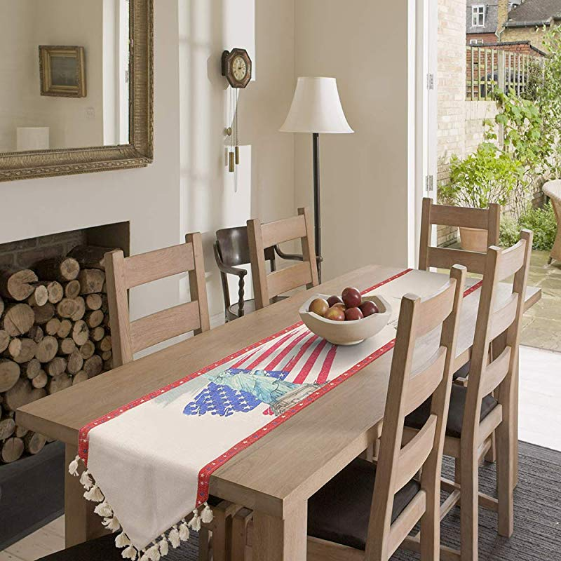 Amsper Patriotic Table Runners Burlap Table Runners Perfect For Everyday Use 4th Of July Party Holiday Event Decoration 13x108